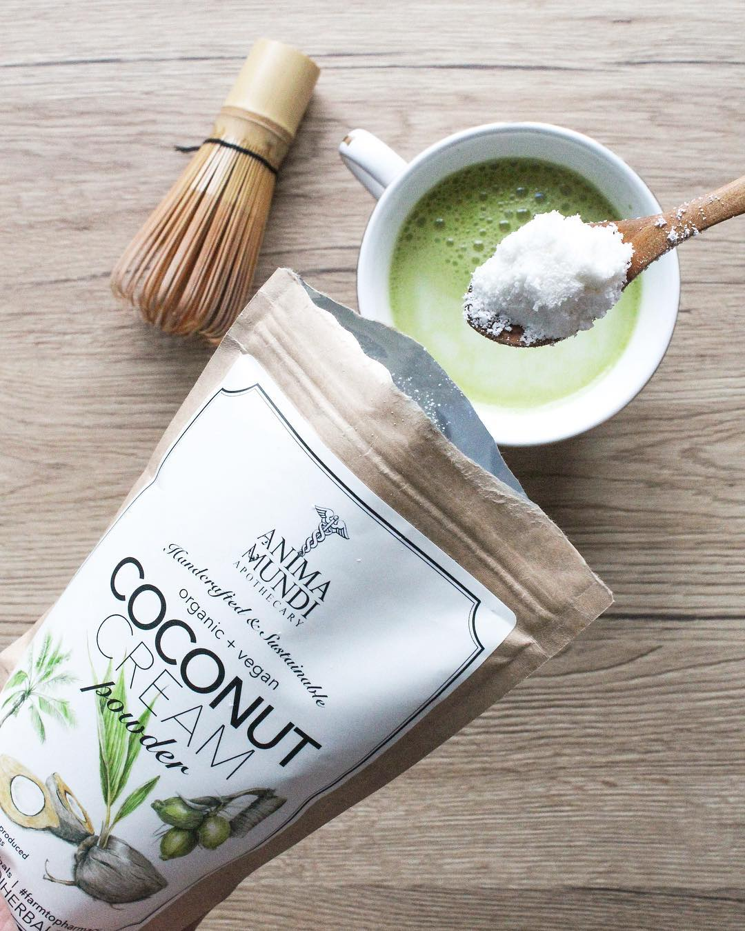 Matcha Latte with Matcha Ninja and Anima Mundi Coconut Cream Powder