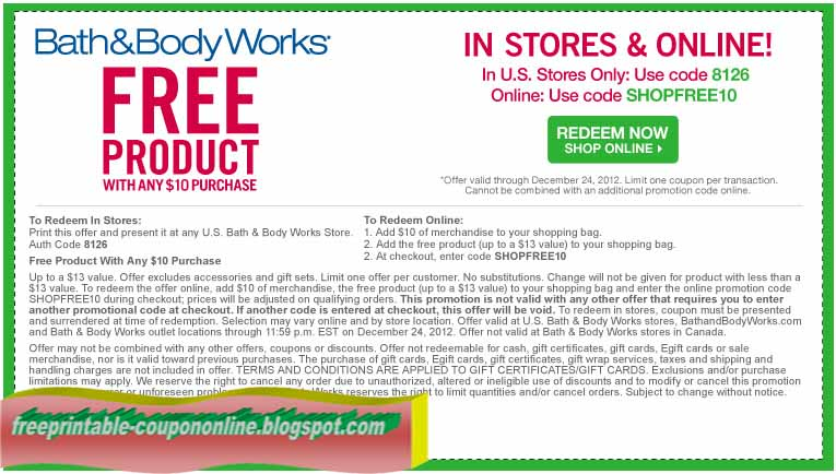 free in store coupons for bath and body works