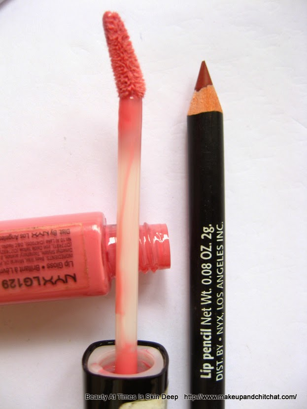 NYX Megashine Lip Gloss Beige and NYX Lip Liner Coffee