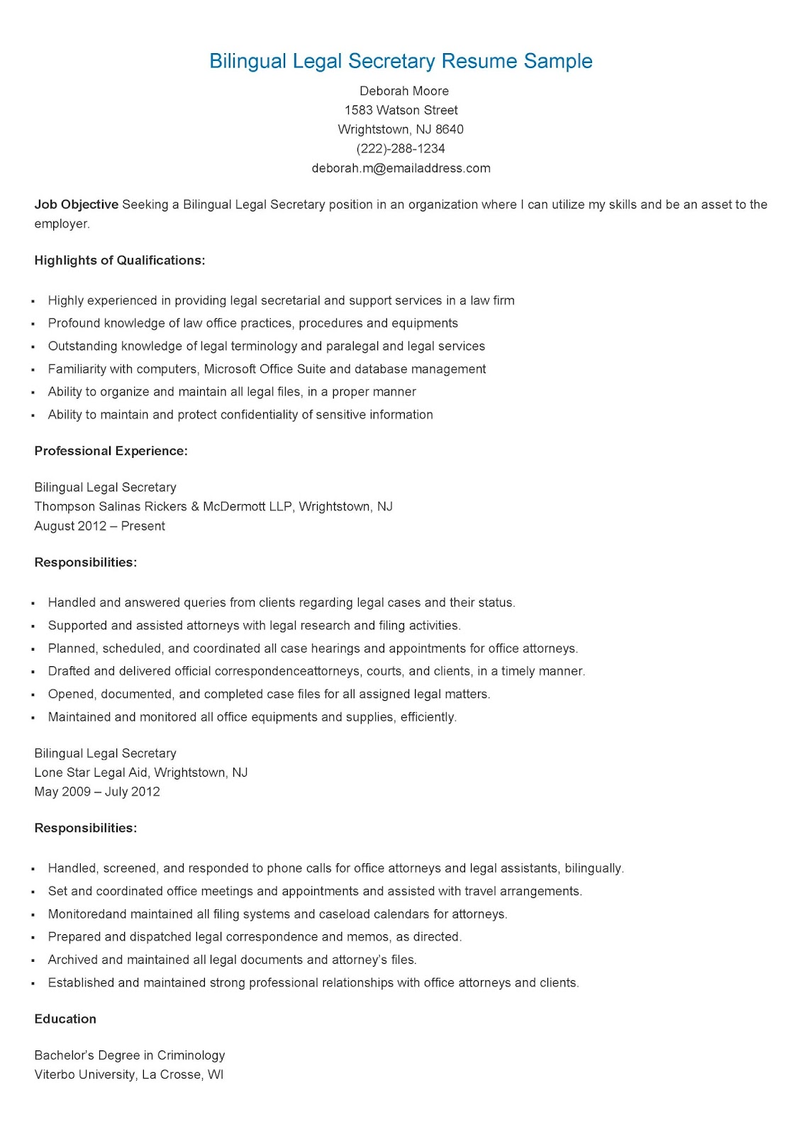Resume Sample For Secretary Resume Samples Bilingual Legal Secretary Resume Sample