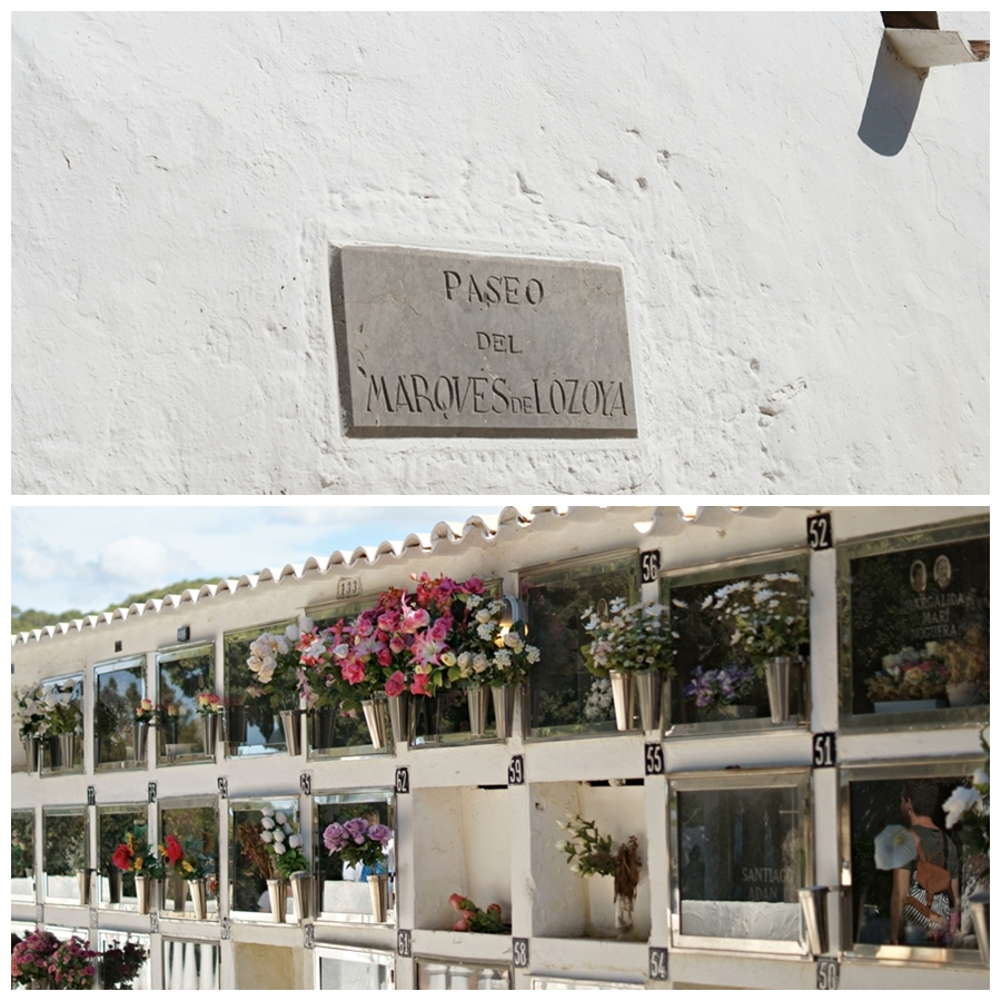 Blog + Fotografie by it's me! - Reisen - La Isla Blanca Ibiza, Santa Eurlaria - Urnengräber und ein Schild in der Klosteranlage