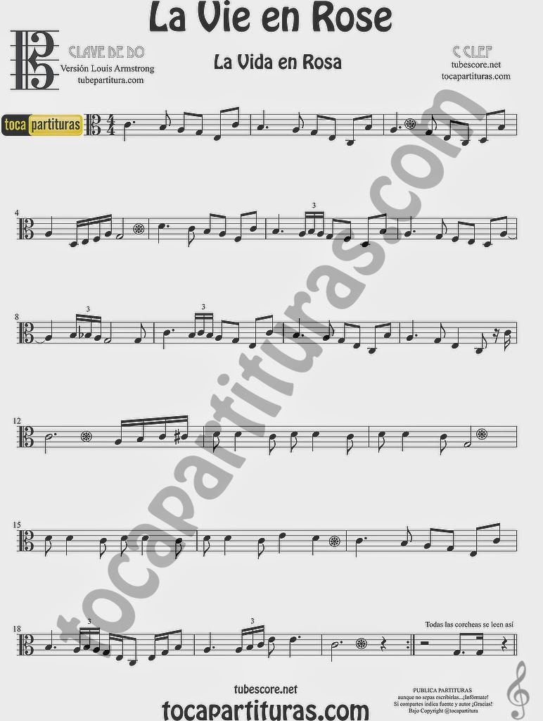 La Vida es Rosa Partitura en Clave de Do para Viola La Vie en Rose Easy Sheet Music for C clef
