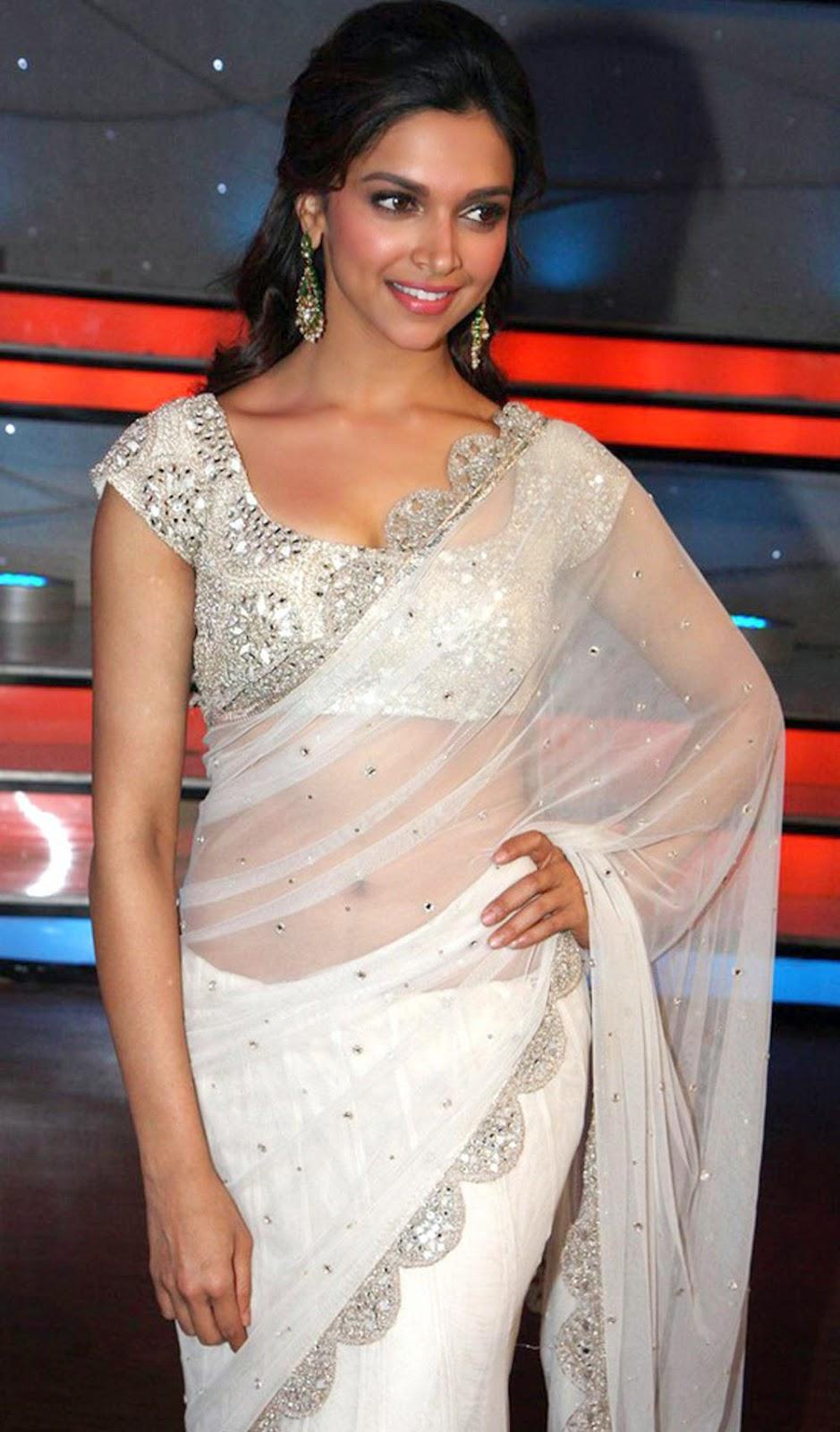 Deepika Padukone Hot Cleavage and Navel Photos in Saree ...
