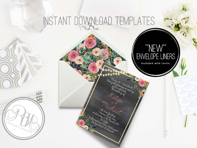 watercolour wedding invitation with envelope liner by rbhdesignerconcepts.com