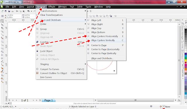 E depois fazer o mesmo caminho e  clicar em  Align Centers Vertically.