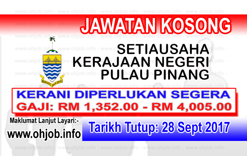 Jawatan Kerja Kosong SUK Pulau Pinang logo www.ohjob.info september 2017