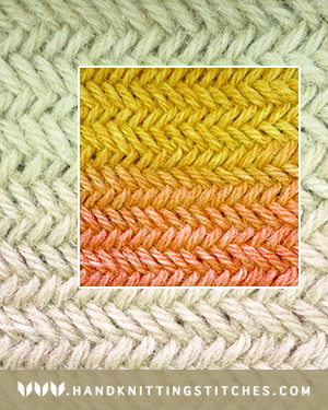 Hand Knitting Stitches - Herringbone in the round