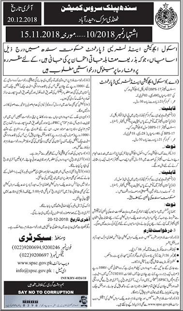 SPSC Jobs December 2018 Sindh Public Service Commission by www.spsc.gov.pk