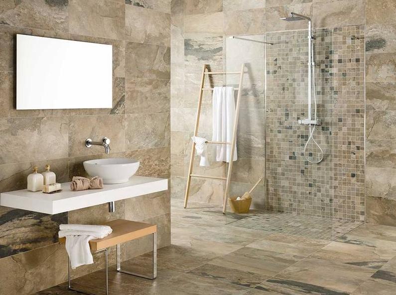 Contoh Desain keramik kamar mandi shower dengan motif marmer