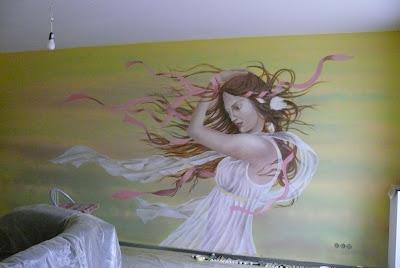 Aranżacja ściany w salonie fryzjerskim, malarstwo ścienne, Gdańsk