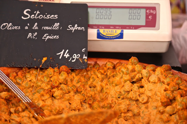 Olives Setoises a la rouille: at Sète market, South of France