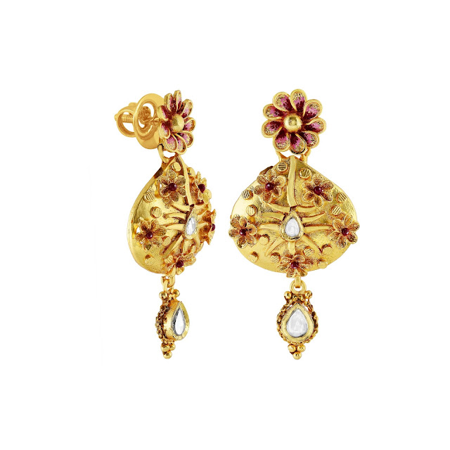 Floral inspired earrings curated in sterling silver in a gold plated tone with enamelling and kundan work by izaara-