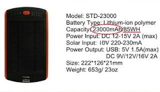 Contoh spesifikasi power bank solar cell