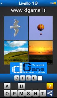 Trova la Parola - Foto Quiz con 4 Immagini e 1 Parola pacchetto 1 soluzione livello 19