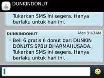 Contoh iklan SMS LBA Dunkin Donut