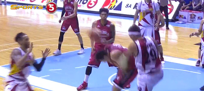 Arwind Santos Saves The Ball by Throwing it Off Kevin Ferrer's head (VIDEO)