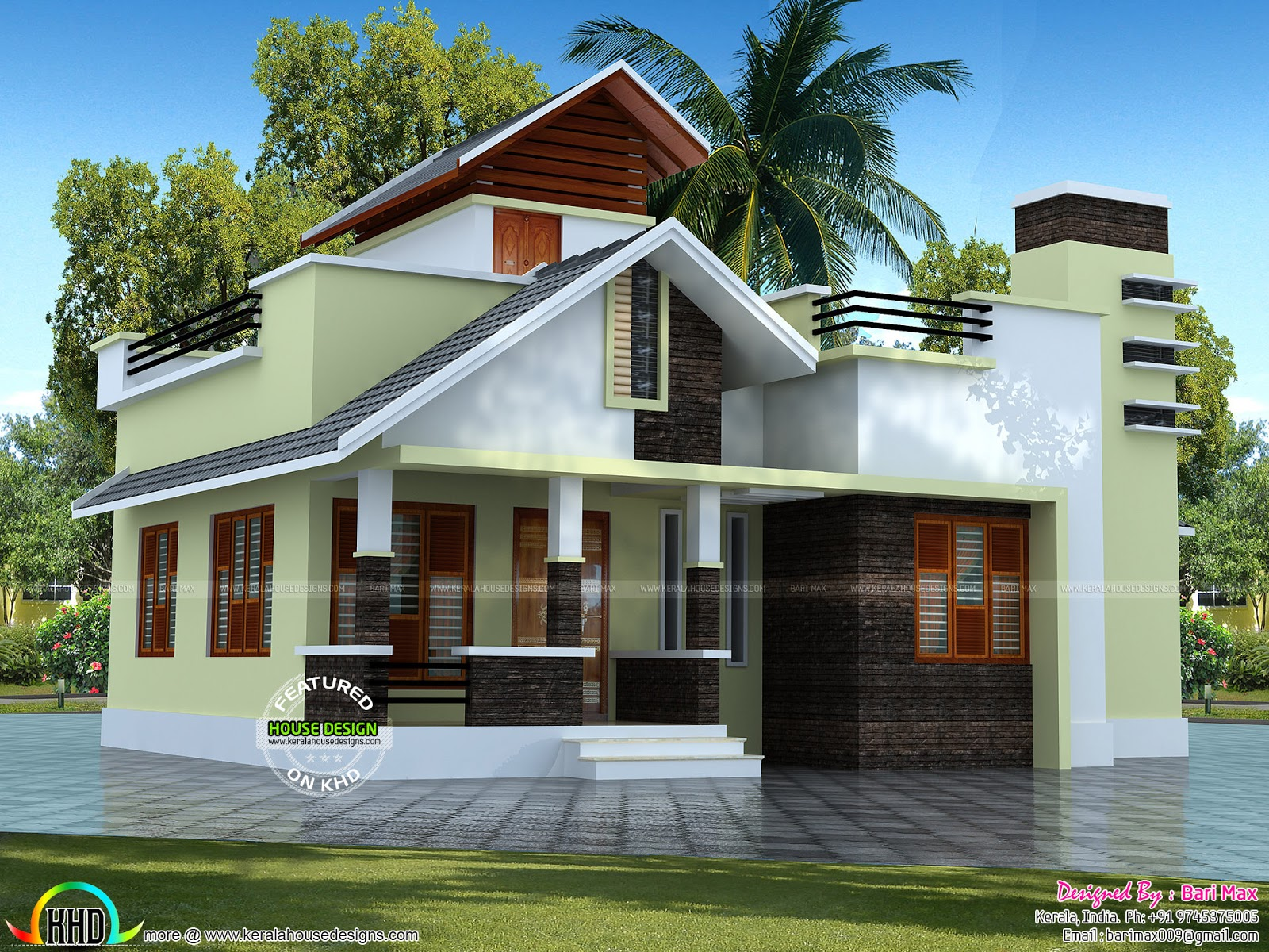 Low cost single floor home 1050 sq ft kerala home design for Low cost per square foot house plans
