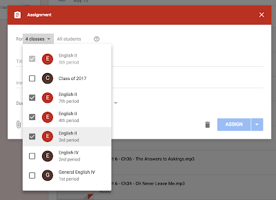 Google Classroom assignment options www.traceeorman.com