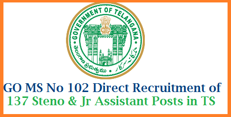 GO MS No 102 Direct Recruitment of 137 Steno and Junior Assistant Posts through TSPSC Public Services – Revenue Department - Recruitment – Filling of (137) One Hundred and Thirty Seven vacant posts in various categories by Direct Recruitment in the units under the control of Chief Commissioner of Land Administration Department, Telangana, Hyderabad, through the Telangana State Public Service Commission, Hyderabad – Orders –Issued. tspsc-direct-recruitment-of-137-junior-senior-steno-assistants-in-telangana