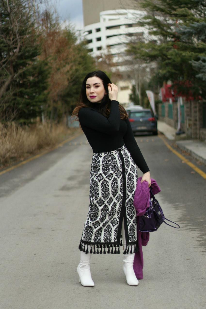 Mor Spor Ceket ve Beyaz Çizmeler-moda blogu-fashion blogger