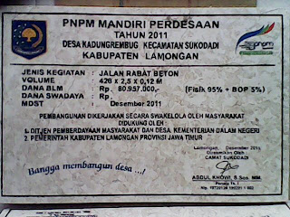 Model Prasasti proyek PNPM Lamongan