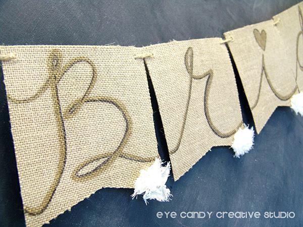 hand lettered burlap banner, custom burlap banner, hand lettering