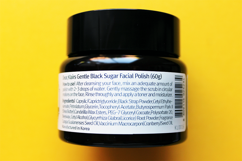 dear Klairs Gentle Black Sugar Facial Polish scrub ingredients