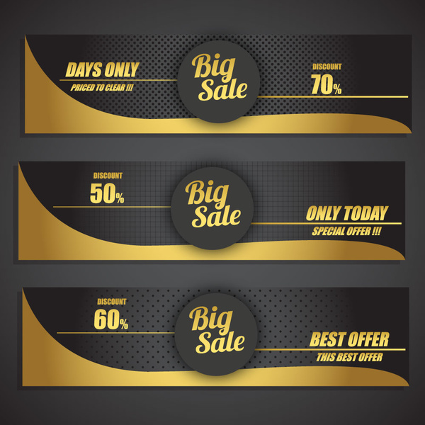 Sales promotion banner sets on black yellow background Free vector