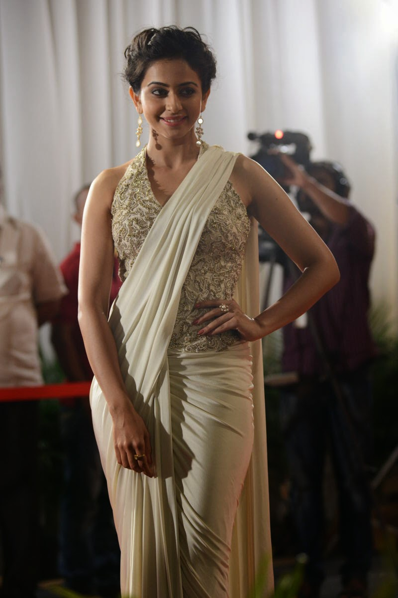 Telugu Actress Rakul Preet Singh In White Saree Stills At ANR National Awards