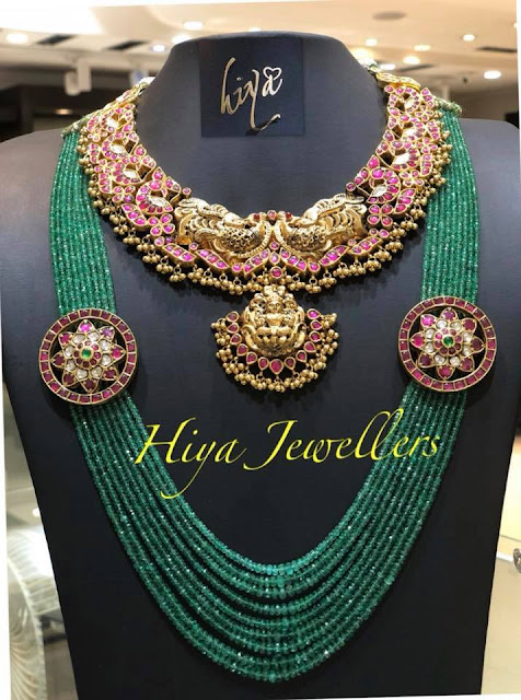 Emerald Beads Set with Floral Motifs by Hiya