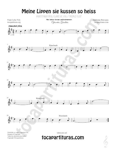 Flauta Travesera, flauta dulce y flauta de pico Partitura de Opera Meine Lippen sie kussen so heiss Sheet Music for Flute and Recorder Music Scores