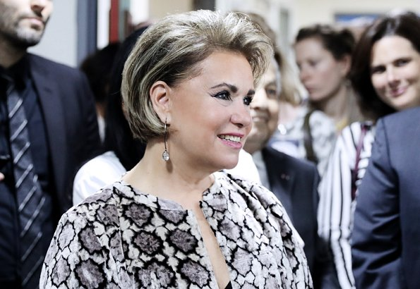 Grand Duchess Maria Teresa visited President General Michel Aoun at Baabda Palace, and Prime Minister Saad Hariri. Ralph Lauren dress