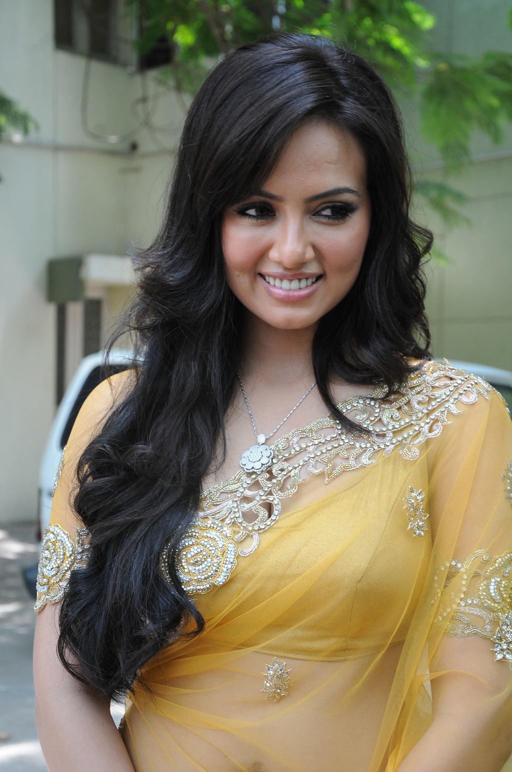 Actress Sana Khan Latest Transparent Saree Spicy Stills At Nadigayni -6530