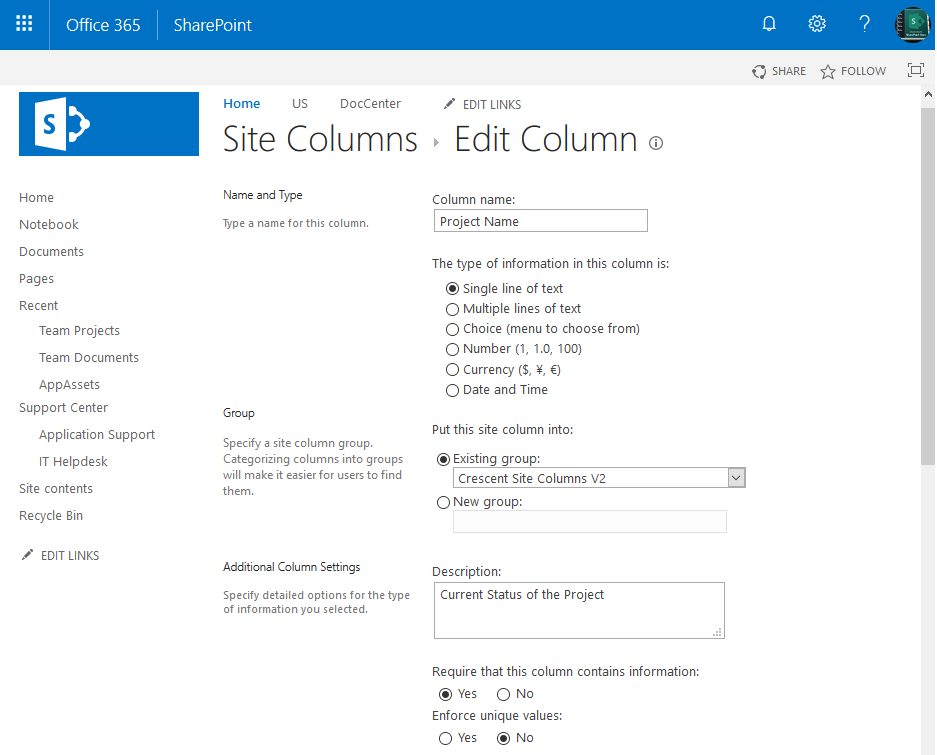 sharepoint online update site column powershell