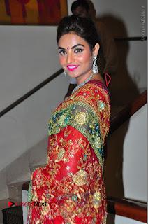 Model Sharon Fernandes Stills in Red Saree at Trendz Exhibition Launch  0032.JPG