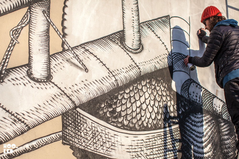 Phlegm - Walthamstow Street Art Mural in progress