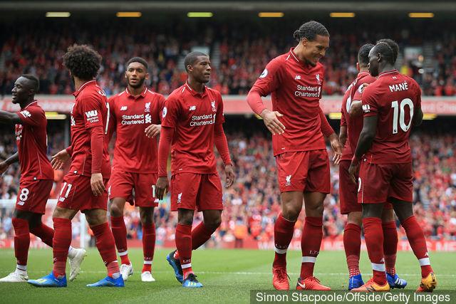 Liverpool FC Sadio Mane Celebrates With Teammates