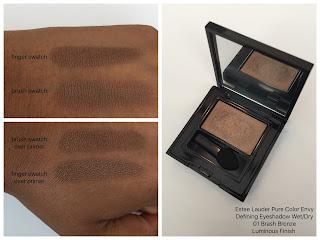Estee Lauder Pure Color Envy Defininig Eyeshadow Wet/Dry 01 Brash Bronze swatched