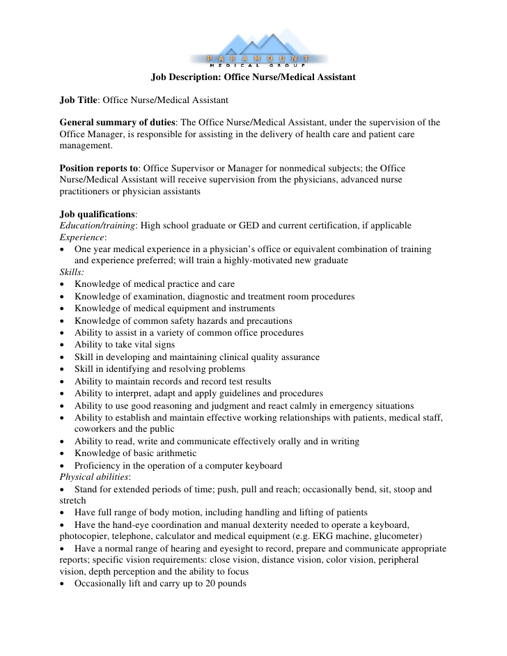 Job Description Medical Administrative Assistant