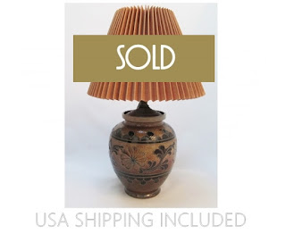 German Salt Glazed Stoneware  Pottery Lamp With Shade