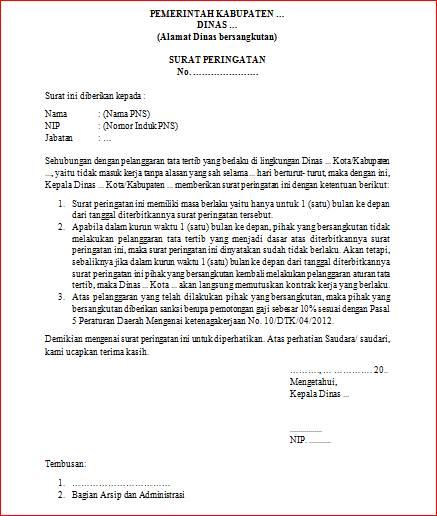 contoh format surat teguran atau peringatan untuk pegawai negeri sipil (PNS)