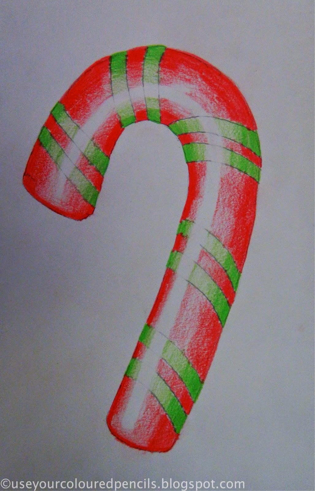 Candy Cane Hearts: Use Your Coloured Pencils: Candy Cane Drawings