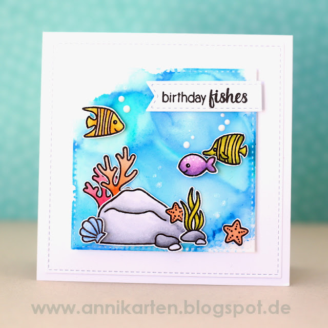 Sunny Studio Stamps: Oceans of Joy & Magical Mermaids Birthday Fishes Card by Anni Lerche