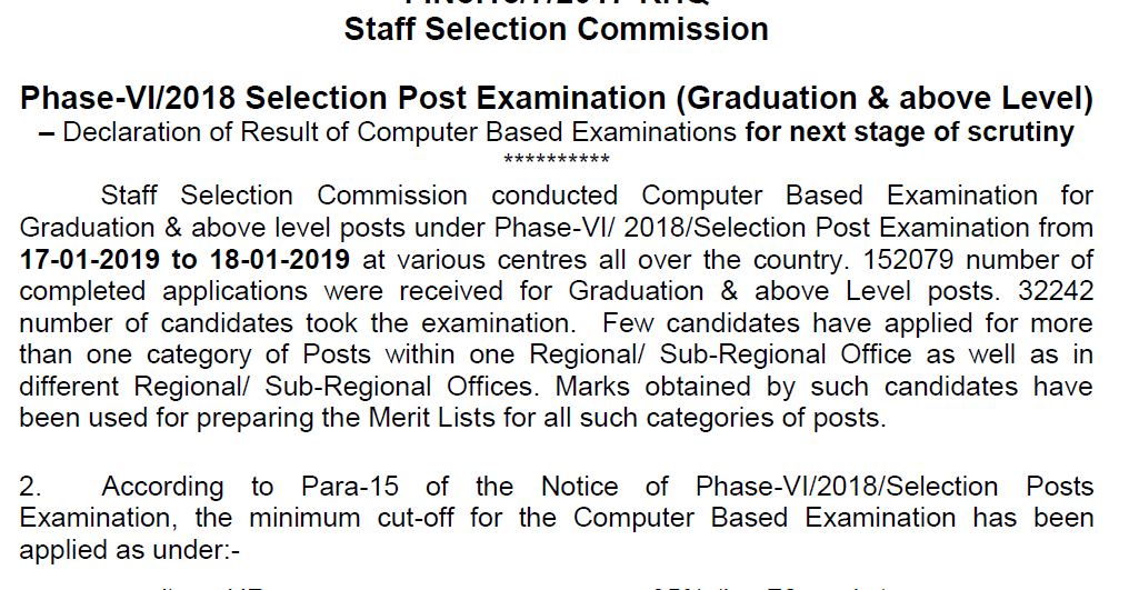 SSC phase VI result declared