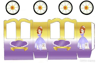 Fiesta de Princesa Sofía: Caja con forma de Carruaje para Imprimir Gratis.