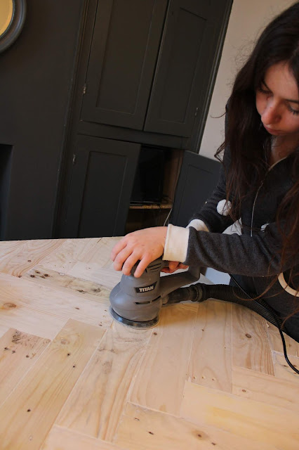 Using a Sander on a Herringbone Table