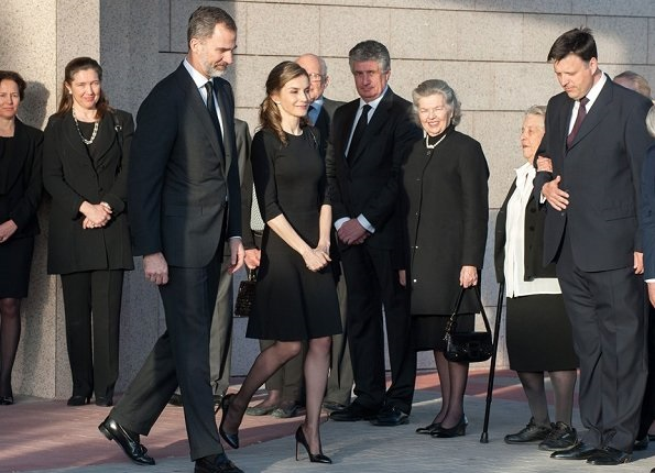 King Felipe and Queen Letizia of Spain attend a funeral chapel for Alicia de Borbon Parma, Duchess of Calabria at La Paz morgue in Madrid