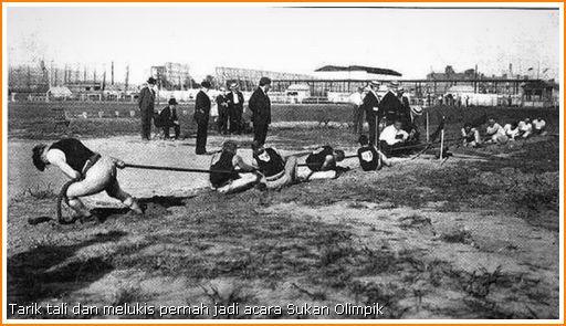 Gambar acara tarik tali dalam sukan Olimpik 1900-an.