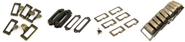 metal label holders, vintage pulls, metal hardware