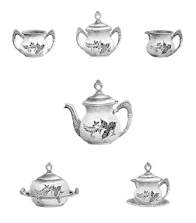 teapot service antique image digital download illustration